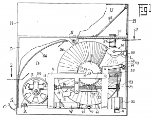 Side view of Rabkin's projection Mutoscope, patent #02070840, 1933