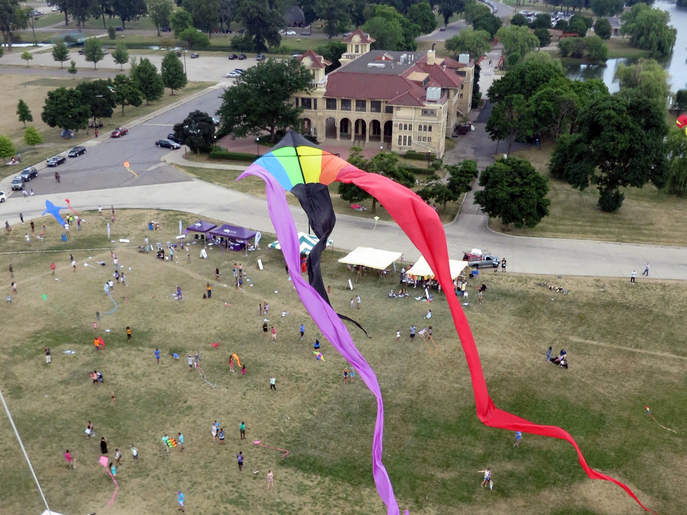 Detroit Kite Festival aerial photos