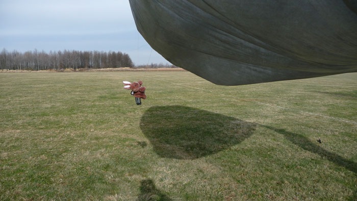 solar balloon takes off lifting camera in a stuffed bunny