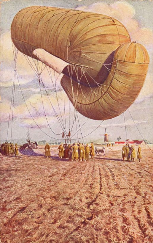 A Belgian version of the Parseval-Sigsfeld kite balloon common at the start of WWI. 1914 or 1915, private collection of Frits Van Der Veldt